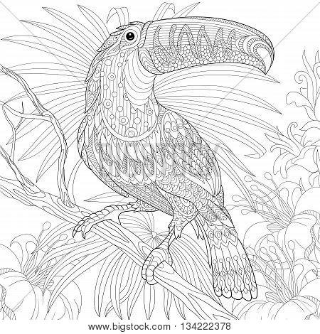 Zentangle stylized cartoon toucan hibiscus flowers and foliage. Hand drawn sketch for adult antistress coloring page T-shirt emblem logo or tattoo with doodle zentangle floral design elements.