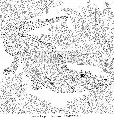 Zentangle stylized cartoon crocodile (alligator) among jungle foliage. Hand drawn sketch for adult antistress coloring page T-shirt emblem logo tattoo with doodle zentangle floral design elements