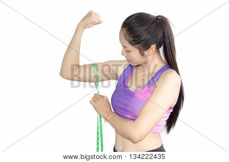 Woman In Sport Bra Measuring Her Body With Tape Isolated On White