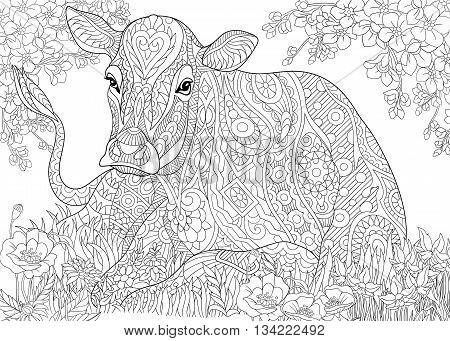 Zentangle stylized cartoon cow pasturing among flowers in grass field. Hand drawn sketch for adult antistress coloring page T-shirt emblem logo tattoo with doodle zentangle floral design elements