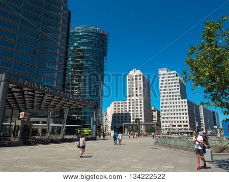 Berlin Germany - June 6 2016 street scene of Potsdamer Platz in the center of the german capital.