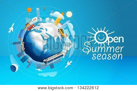 Across the world tour by different vehicle. Travel concept vector illustration. Open summer season