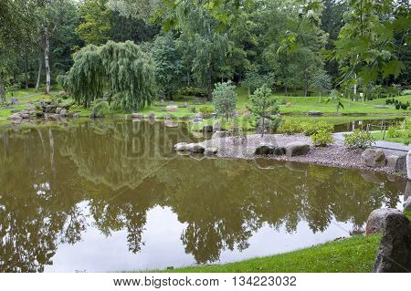 TALLINN ESTONIA- SEPTEMBER 7 2015: The Japanese garden in park Kadriorg on September 7 2015 in Tallinn Estonia