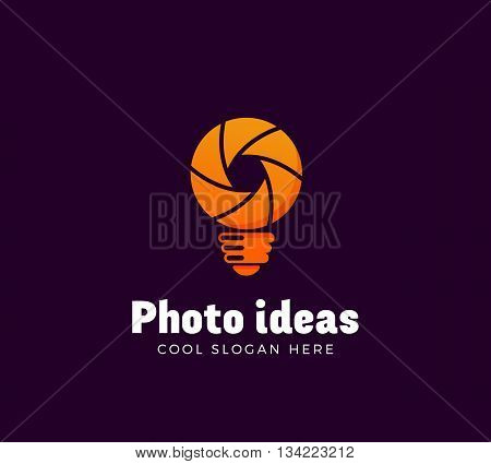 Photo Ideas Abstract Vector Logo Template. Shutter and Light Bulb Concept Symbol. Diaphragm Icon. Photography Sign. Orange Gradient. Isolated.