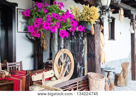 Bulgarian traditional restaurant background with flowers, table, copy space