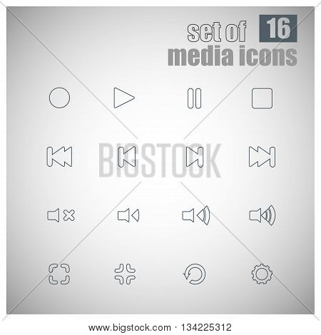 Set Of Outline Media Player Icons | Media Player Buttons | Multimedia | Media Symbols