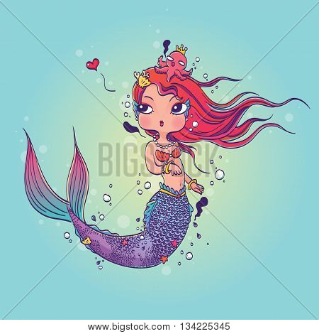 Vector Illustration of a Lovely Mermaid Under the Sea Hand Drawn, Doodle Cartoon Character