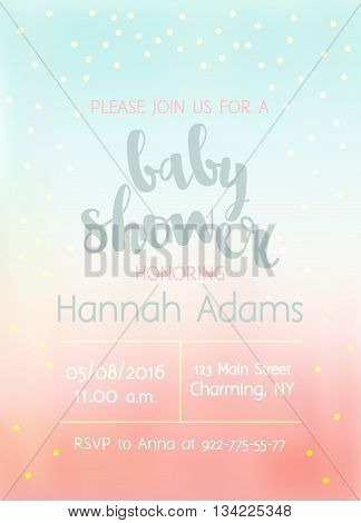 Vector Baby Shower invitation with lettering for girl. Blurred background with gold foil confetti