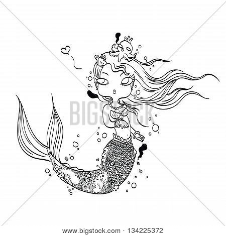 Vector Illustration of a Lovely Mermaid Under the Sea Hand Drawn, Doodle Cartoon Character for Coloring