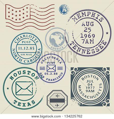 Retro postage stamps set United States theme, vector illustration