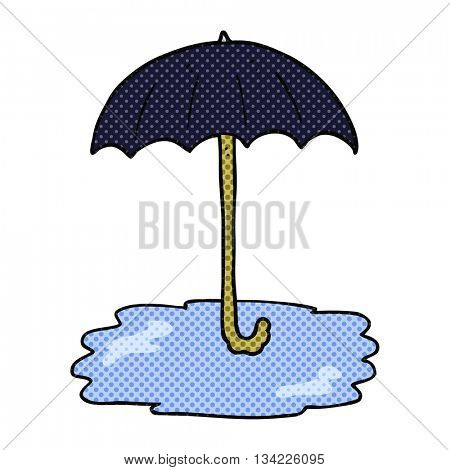 freehand drawn comic book style cartoon wet umbrella