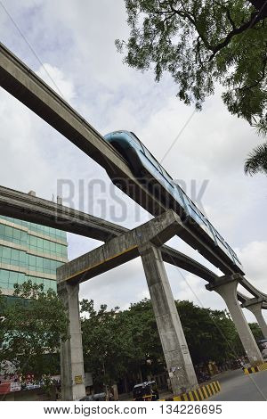 Bombay, India - June 10, 2016:Bombay Monorail is a monorail system in the city of Bombay, Maharashtra
