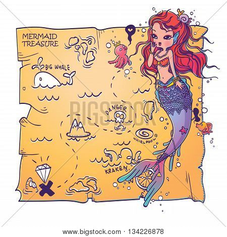Vector Illustration of a Mermaid and Treasure Map on White Background Hand Drawn, Doodle Cartoon Character