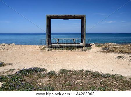 Wooden benchrelax place on the Cyprus sea coast