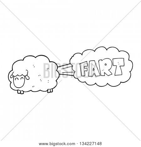 freehand drawn black and white cartoon farting sheep