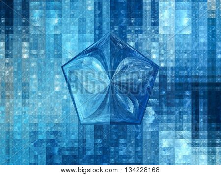 Blue glossy pentagon fractal computer generated abstract background