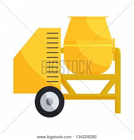 Building mixer for concrete icon in cartoon style on a white background