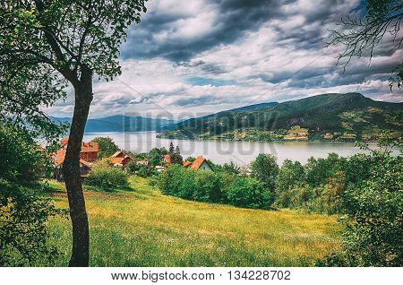 Surreal Hdr Landscape Of Danube River And Mountains