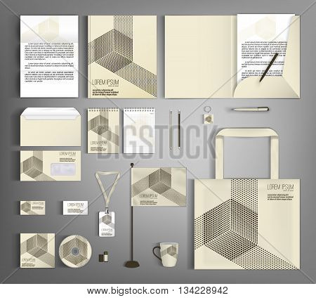 Trendy geometric corporate identity template design with retro pattern and geometric elements. Modern abstract business set stationery.