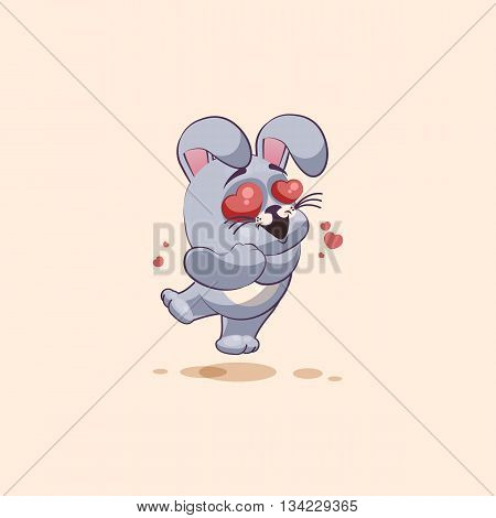 Vector Stock Illustration isolated Emoji character cartoon Gray leveret in love flying with hearts sticker emoticon for site, info graphic, video, animation, websites, e-mails, newsletters, reports, comics