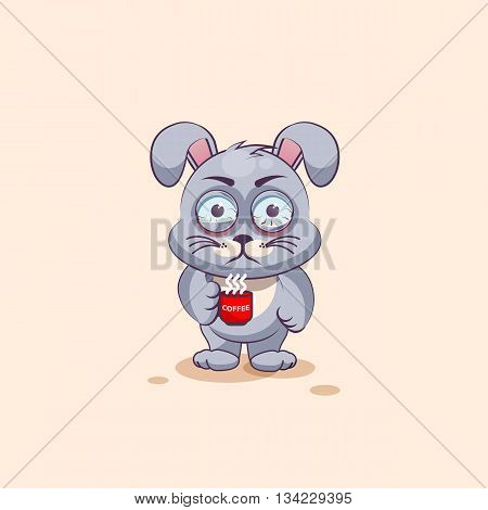 Vector Stock Illustration isolated Emoji character cartoon Gray leveret nervous with cup of coffee sticker emoticon for site, info graphic, video, animation, websites, e-mails, newsletters, reports, comics