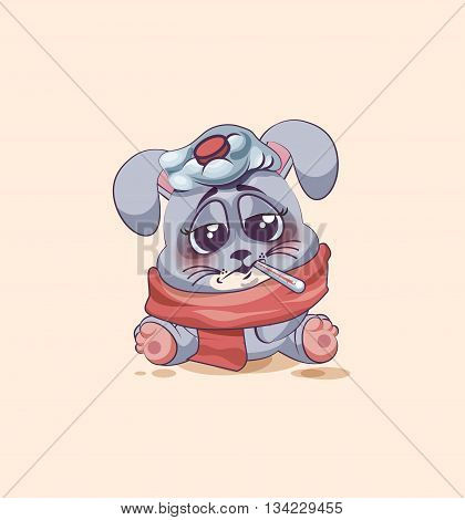 Vector Stock Illustration isolated Emoji character cartoon Gray leveret sick with thermometer in mouth sticker emoticon for site, info graphic, video, animation, websites, e-mails, newsletters, reports, comics