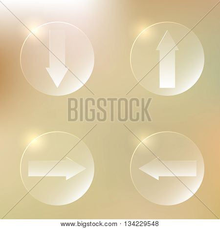 Set Of Glassy Arrows Icons