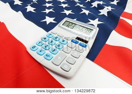 National Flag With Calculator Over It - United States