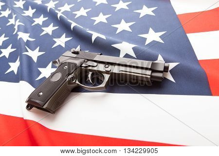 Ruffled National Flag With Hand Gun Over It Series - United States