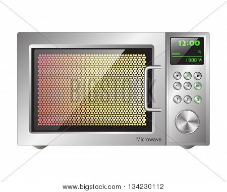 working microwave oven with a metallic finish and an electronic display
