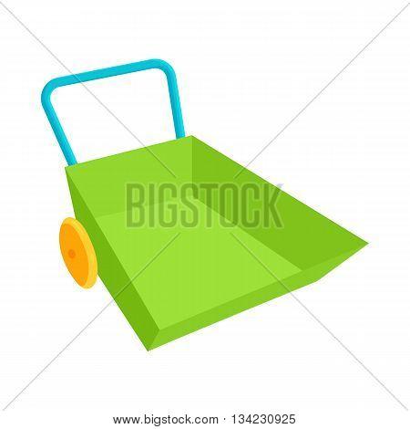 Green wheelbarrow icon in cartoon style on a white background