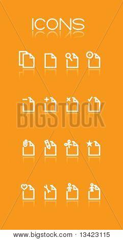 Simple icons on orange background