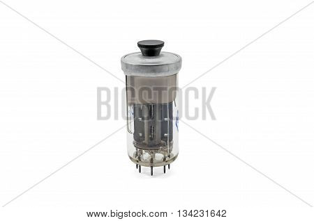 Gain electronic vacuum tube Soviet-made on white background