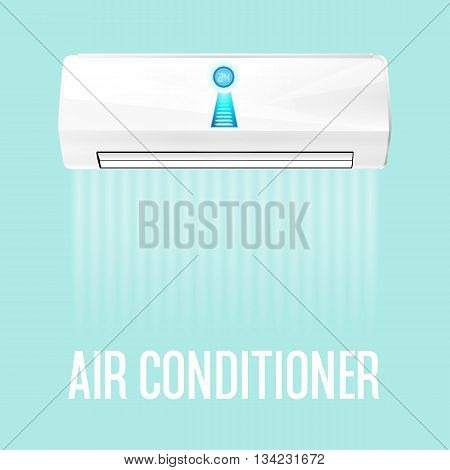 White color air conditioner machine isolated on blue background. Vector illustration.