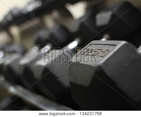 sports metal Dumbbell in gym, Weight Training Equipment