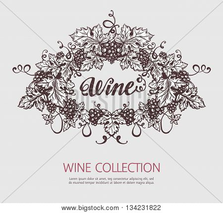 Grapes wreath sketh template. Wine and winemaking vintage illustration. Vector design.