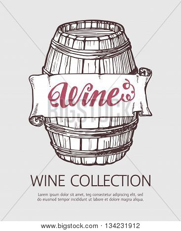Wine or beer wood barrel. Handdrawn vector sketch template with banner.