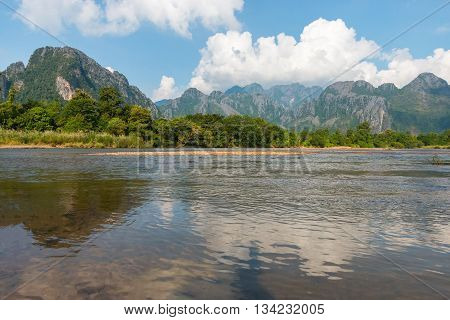 The beautiful mountain in Vang Vieng, Laos.