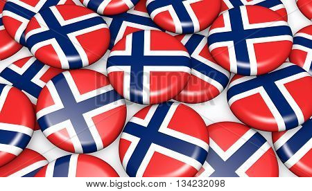 Norway flag on pin badges 3d illustration background image for national Norwegian day events holiday and celebration.