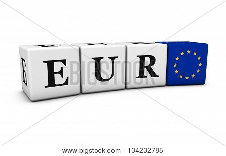 Euro currency exchange market and financial trading concept with eur code sign and European Union flag on cubes 3D illustration on white background.