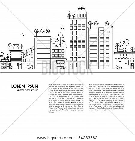 Line design vector illustration with ecology city. Green city concept with eco icons. Green energy - green house wind turbines solar panels.