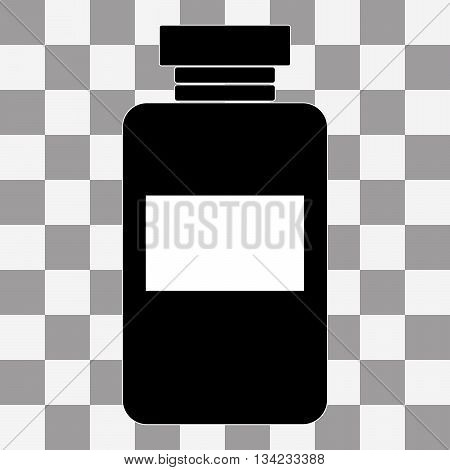 Vector image of a black vaccine vial on a transparent background