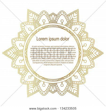 Round gold border frame. Mandala ornament. Can be used for decoration and design photo frame menu card scrapbook album. Vector Illustration. White background.