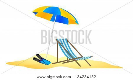 parasol, chaise and flippers in the beach