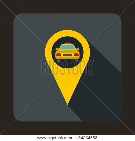 Geo taxi icon in flat style with long shadow. Transportation symbol