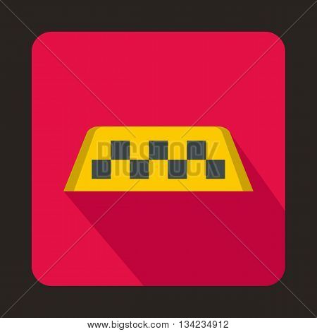 Checker taxi icon in flat style with long shadow. Transportation symbol