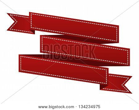 Embroidered Red Ribbon Isolated On White. Can Be Used For Banner, Award, Sale, Icon, Logo, Label Etc