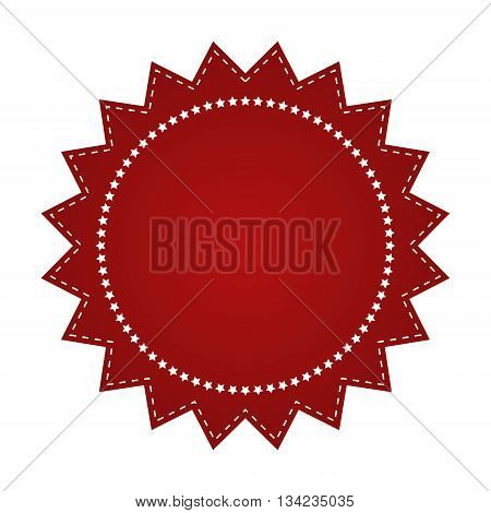 Embroidered Red Round Ribbon Stamp Isolated On White. Can Be Used For Banner, Award, Sale, Icon, Log