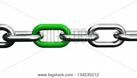 Steel chain with a green link business collaboration and teamwork concept closeup 3D illustration isolated on white background.