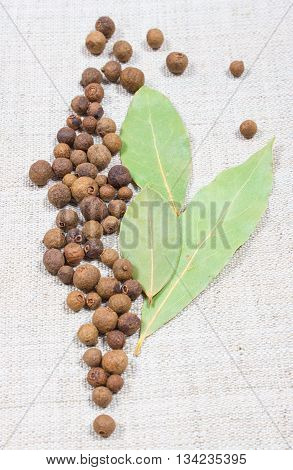 Grains Of Allspice And Bay Leaf On A Canvas
